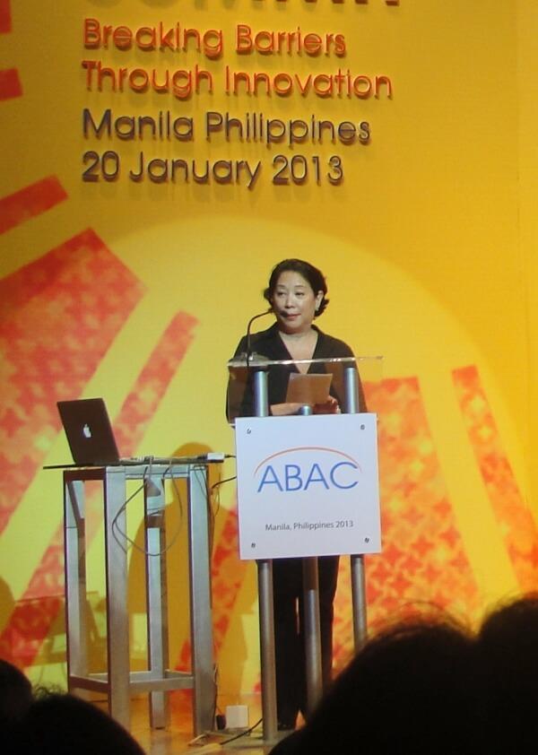 Ms. Doris Magsaysay-Ho of ABAC welcomes the audience.