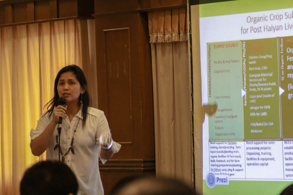 Ms. Regina Antequiza, Executive Director of ECOWEB, shares the initiatives of the Philippine Social Enterprise Network consistent with pro-poor value chain and subsector development as a RISE strategy.