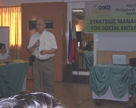 Dr. Alejandrino Ferreria, entrepreneur and educator, delivers a lecture on Quality, Delivery, and Productivity (QDP) as framework for Social Enterprise Operations Management.
