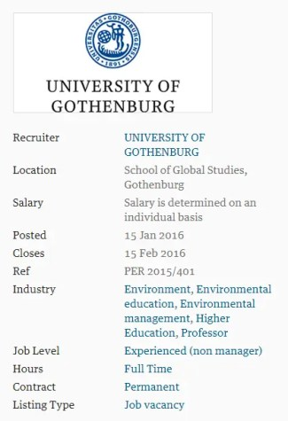 University of Gothenburg Professor in Environmental Social Science