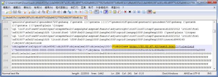 Dridex embedded malicious OLE object