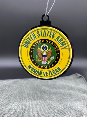 US Army Proud Woman Veteran Christmas Tree Ornament Double Sided
