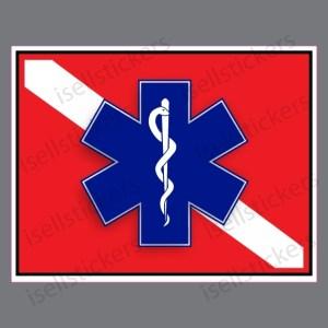 Rescue Diver Flag Star of Live EMT EMS Caduceus Decal Sticker
