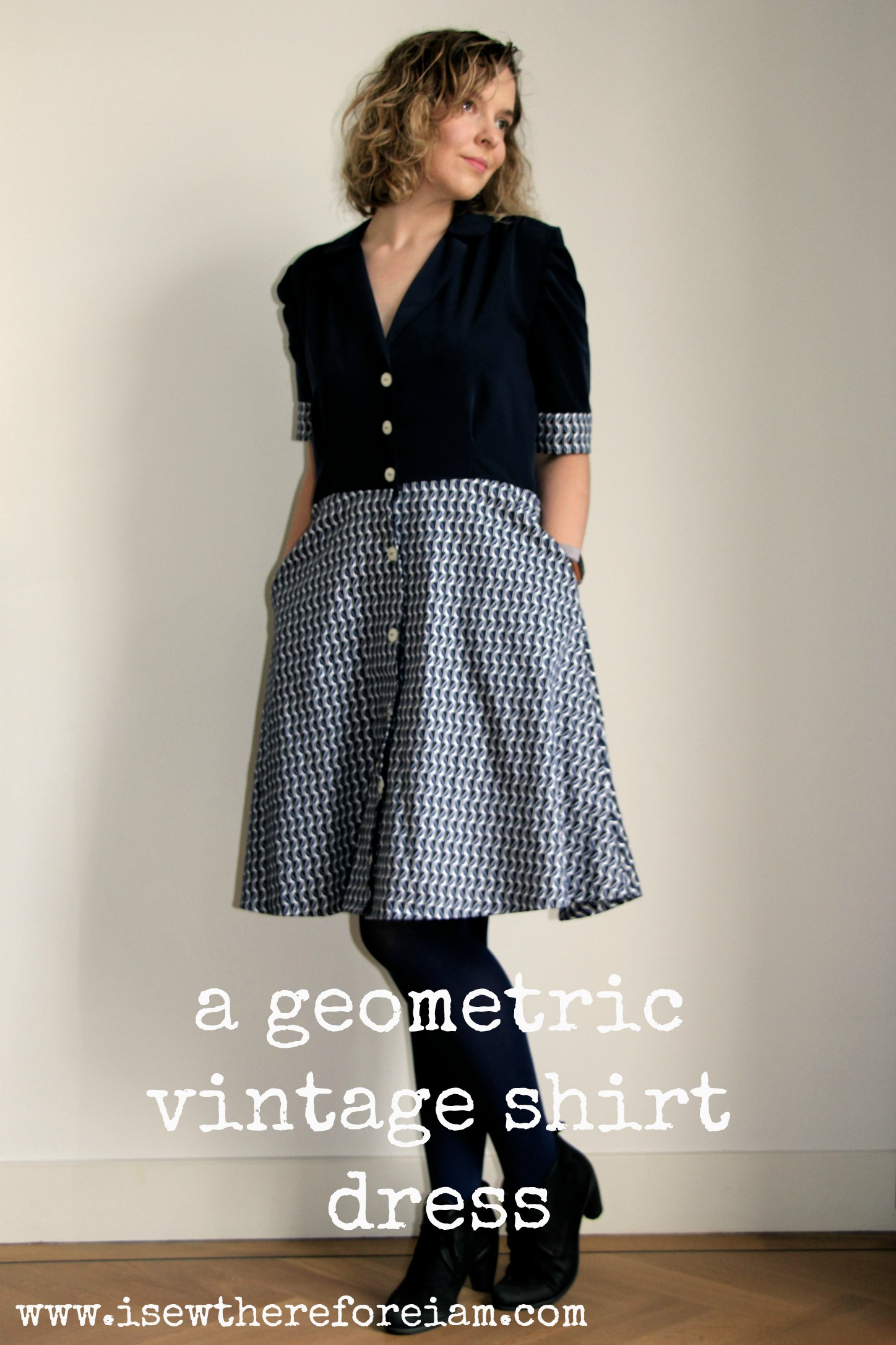 The Sew Over It Vintage Shirt Dress with contrats skirt and bodice, using navy and a geometric print