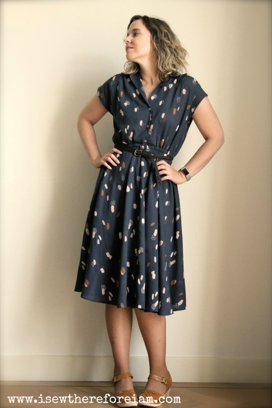 Sew Over It Penny Dress in Moonstone Blue viscose by Atelier Brunette