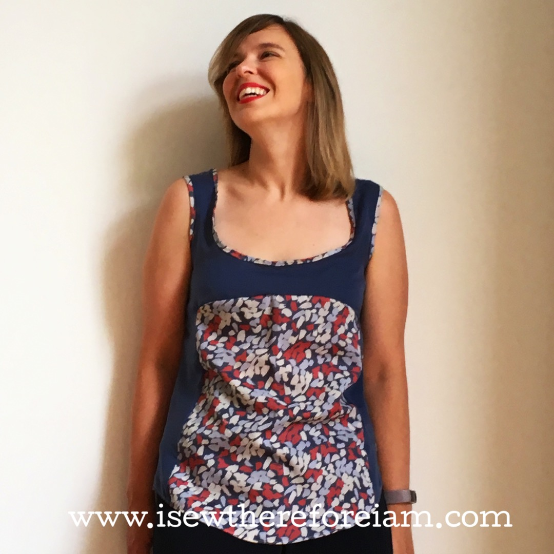 A free top made out of leftover Atelier Brunette fabric using the free downloadable Polly Top from By Hand London