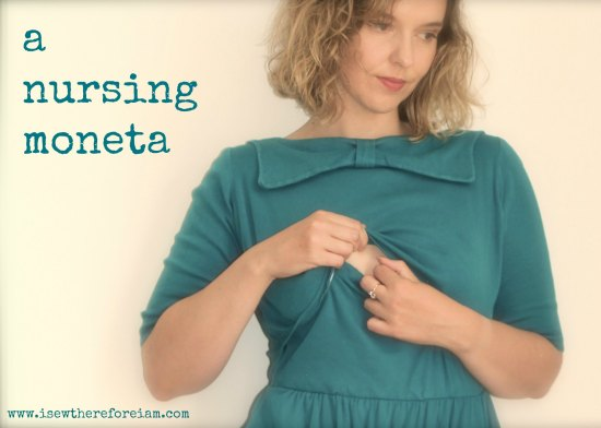 The Colette Moneta with the vintage bow colour, adapted to provide nursing access