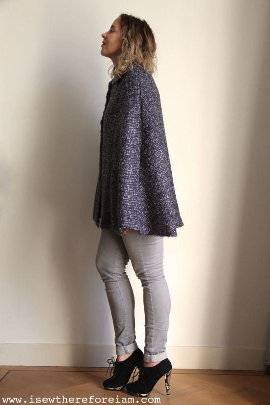 My Chic Cape by Sew Over It in a fabulous boucle wool from Fabworks Mill