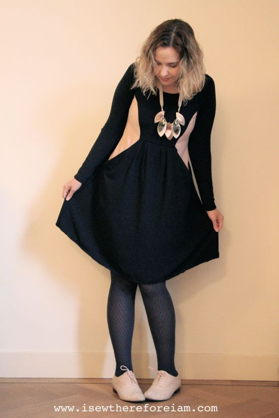 Zadie Dress by Tilly and the Buttons in crêpe scuba from the Fabric Godmother