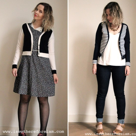 The Juniper Cardigan from Jennifer Lauren in a merino jersey from The Fabric Store and in a ponte di roma