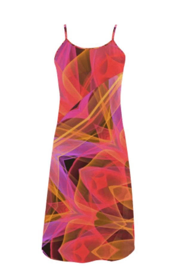 Abstract Peach Violet Mandala Ribbon Candy Lace Slip Dress