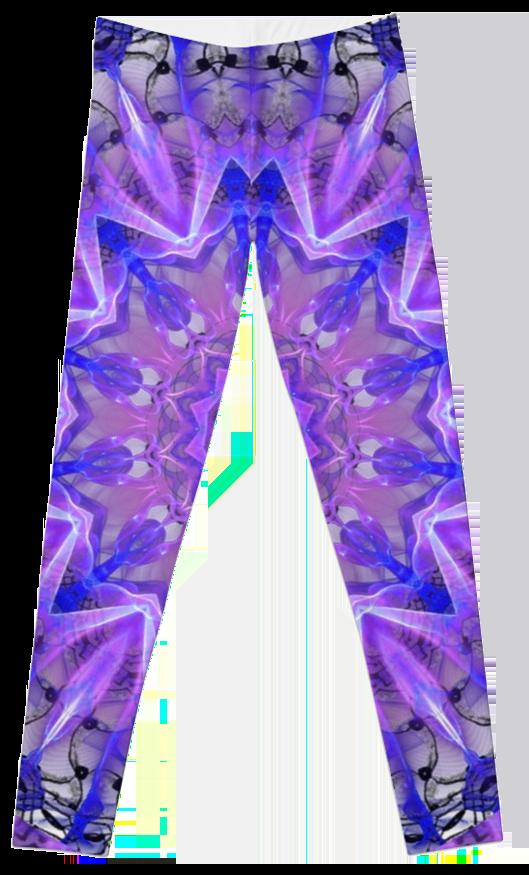 Abstract Plum Ice Crystal Palace Lattice Lace Leggings