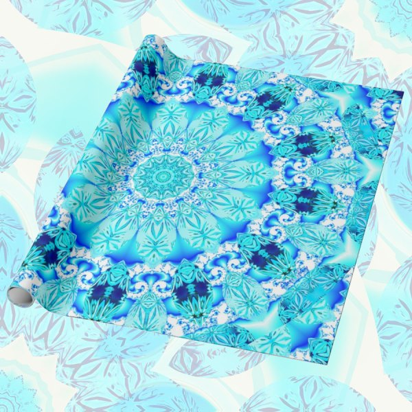 Aqua Lace Mandala, Delicate, Abstract Blue | Wrapping Paper