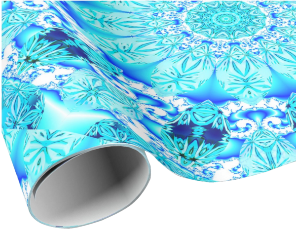 Aqua Lace Mandala, Delicate, Abstract Blue | Wrapping Paper | Roll