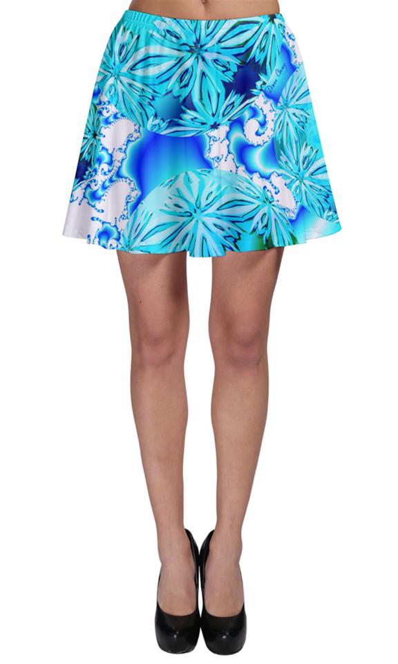 Blue Ice Crystals, Abstract Aqua Azure Cyan Skater Skirt