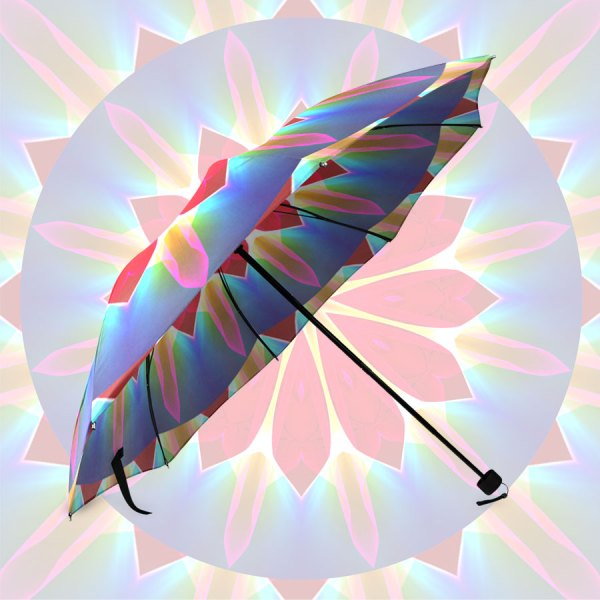Blue Ice Flowers Red Abstract Petals Zen | Foldable Umbrella