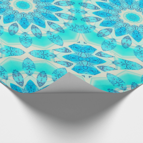 Blue Ice Goddess, Abstract Crystals of Love Mandala | Wrapping Paper | Corner
