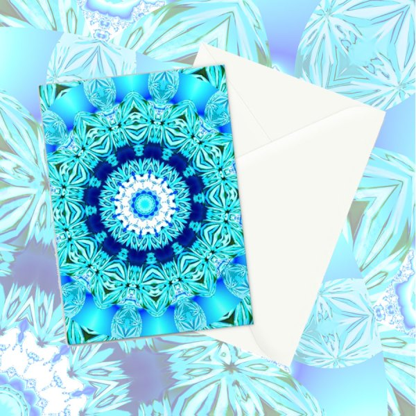 Blue Ice Glass Mandala, Abstract Aqua Lace | Greeting Card