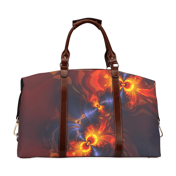 Butterfly Eyes, Abstract Violet Gold Wings Classic Travel Bag (Model 1643)
