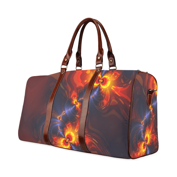Butterfly Eyes, Abstract Violet Gold Wings Waterproof Travel Bag/Large (Model 1639)