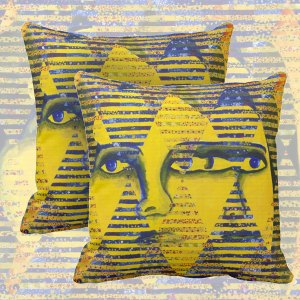 Conundrum II, Abstract Golden Sapphire Goddess Collage | Throw Pillows
