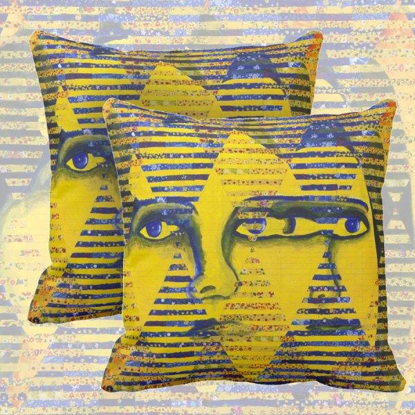 Conundrum II, Abstract Golden Sapphire Goddess Collage   Throw Pillows