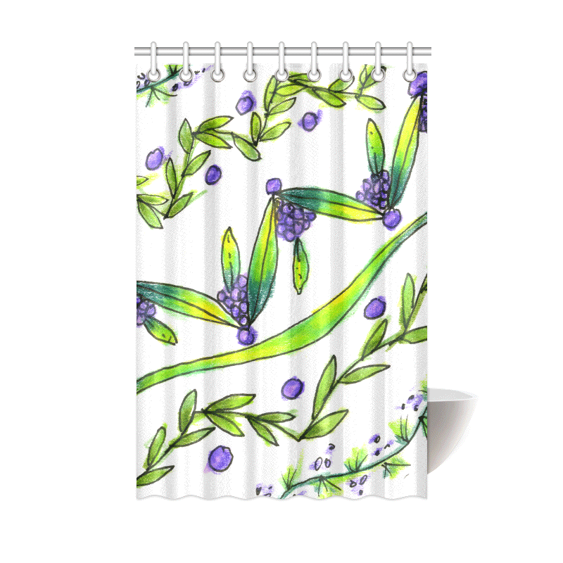 Sold! ❤ Dancing Green, Purple Vines, Grapes Zendoodle Shower Curtain 48″x72″