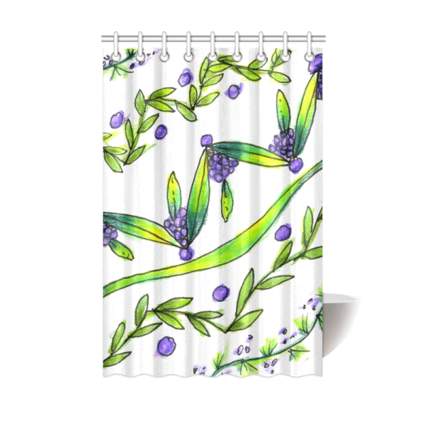 Purple Vines, Grapes, Dancing Green Zendoodle | Shower Curtain 48″x72″ | DianeClancy @ ArtsAdd