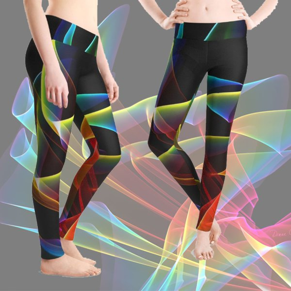 Dancing Northern Lights, Abstract Summer Sky | Leggings