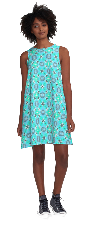 Elegant Blue Teal Abstract Modern Foliage Leaves-A-Line-Dress