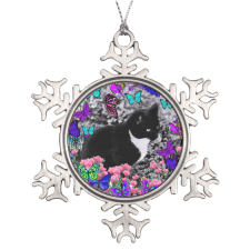 Sold! ❤ Freckles in Butterflies III, Tux Kitty Cat Snowflake Pewter Christmas Ornament