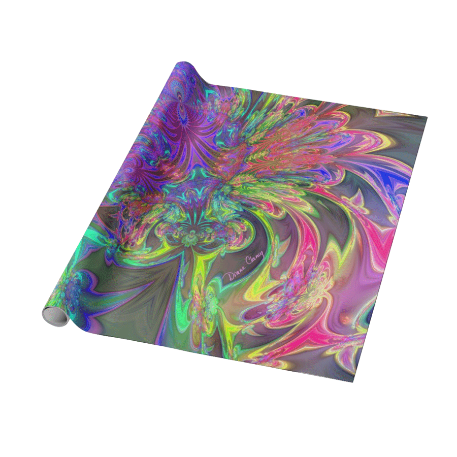 Glowing Burst of Color, Abstract Teal Violet Deva | Wrapping Paper | DianeClancy @ Zazzle