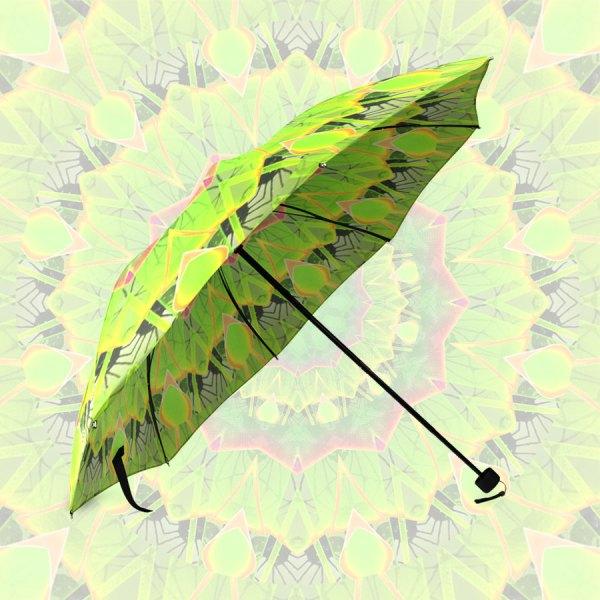Golden Green Foliage Ferns Abstract Summer Days   Foldable Umbrella