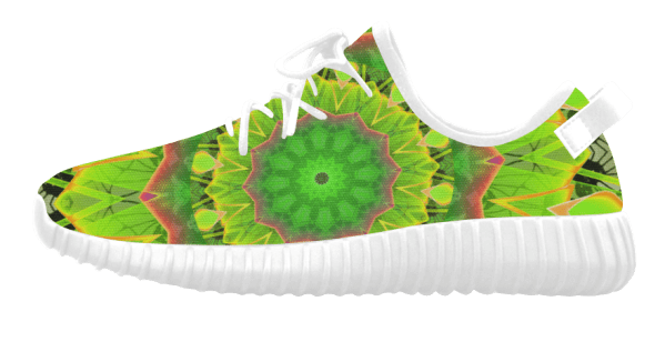 Golden Green Foliage Ferns Abstract Summer Days Grus Women's Breatheable Woven Running Shoes (Model 022) (white)