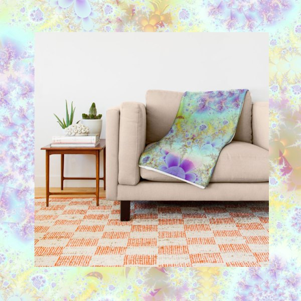 Golden Violet Sea Shells, Abstract Fractal Ocean | Throw Blanket