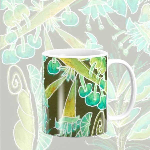 Irish Garden, Lime Green Flowers Dance in Joy Zendoodle | Mug