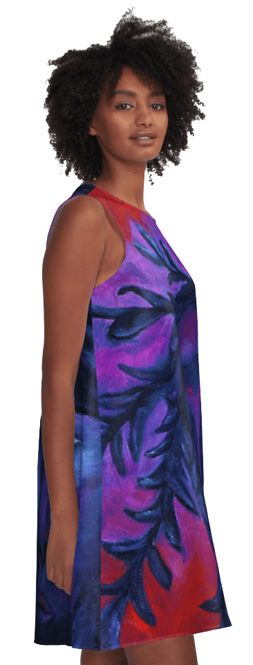 Mother Watching All, Crimson & Violet Compassion Oil Painting A-Line Dress