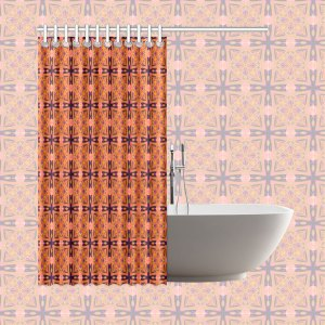 "Peach Purple Abstract Moroccan Lattice Quilt | Shower Curtain 66""x72"""