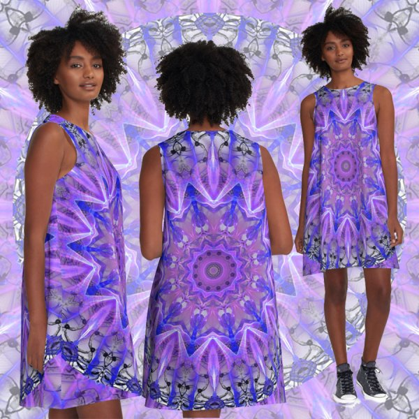 Abstract Plum Ice Crystal Palace Lattice Lace   A-Line Dress