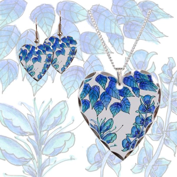 Pretty Blue Flowers, Aqua Garden Zendoodle | Heart Necklace