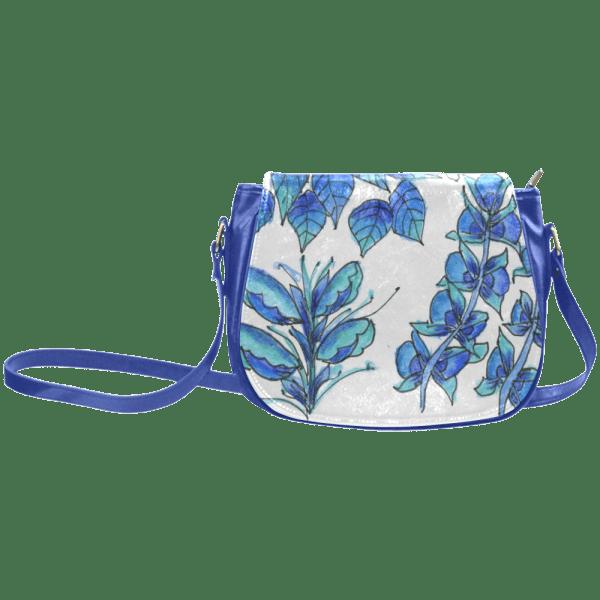 Pretty Blue Flowers, Aqua Garden Zendoodle Classic Saddle Bag/Large