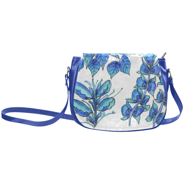 Pretty Blue Flowers, Aqua Garden Zendoodle Classic Saddle Bag/Large
