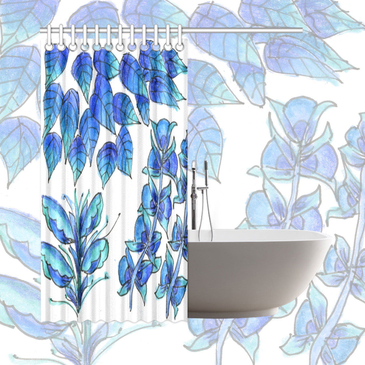 Pretty blue flowers aqua garden zendoodle shower curtain 66x72 izmirmasajfo