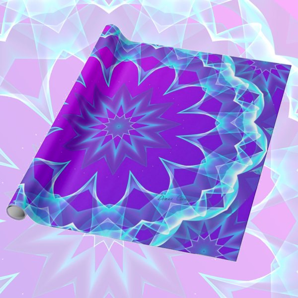 Psychedelic Stars, Abstract Violet Purple Glow | Wrapping Pape