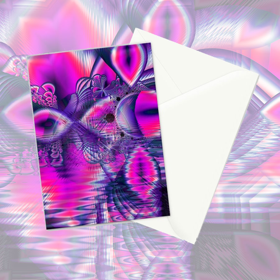 Rose Crystal Palace, Abstract Violet Love Dream | Greeting Card