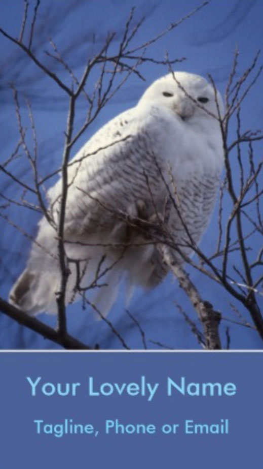 Snowy White Owl, Arctic Owl, Sapphire Sky | Business Cards