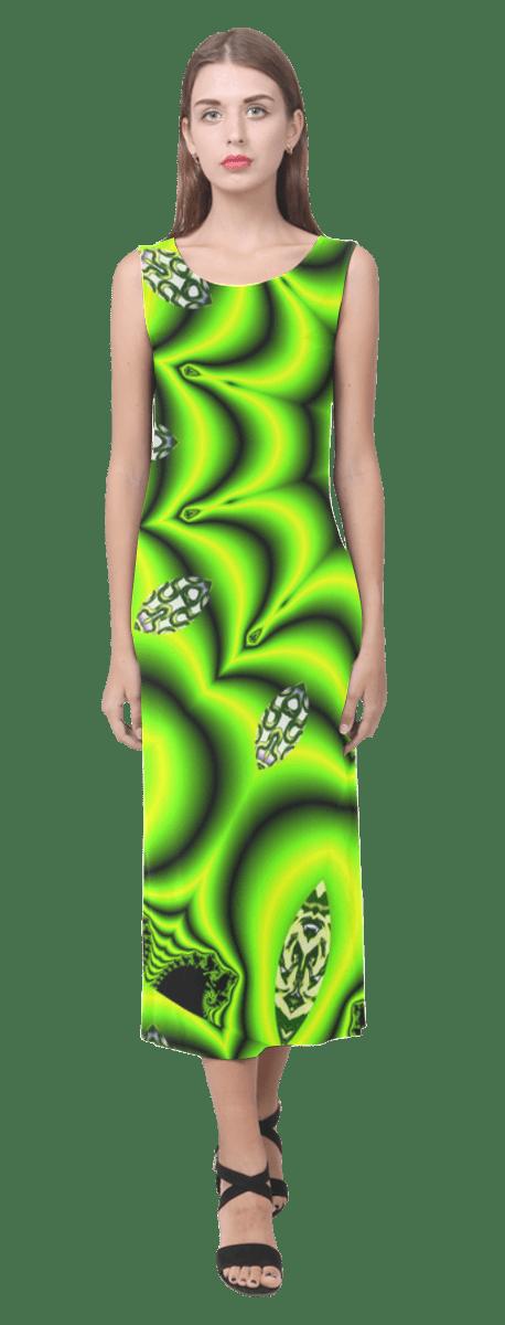 Spring Lime Green Garden Mandala, Abstract Spirals | Sleeveless Open Fork Long Dress