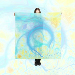 Abstract Streams of Joy, Cosmic Aqua & Lemon | Large Scarf