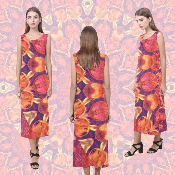 Sunburst, Abstract Peach Cream Orange Star Quilt Mandala | Sleeveless Open Fork Long Dress
