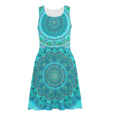 Sold! ❤ Teal Cyan Ocean Abstract Sundress